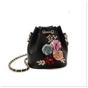 Black and Floral Crossbody Bucket Bag